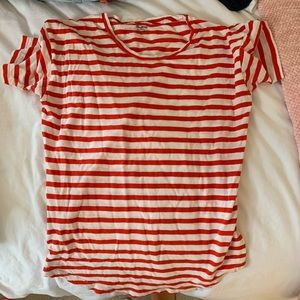 Madewell red and white striped t shirt